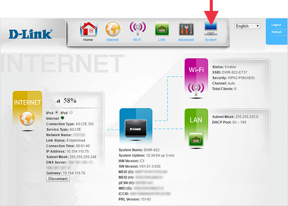 D-Link 4G LTE Router DWR-922 System Screen